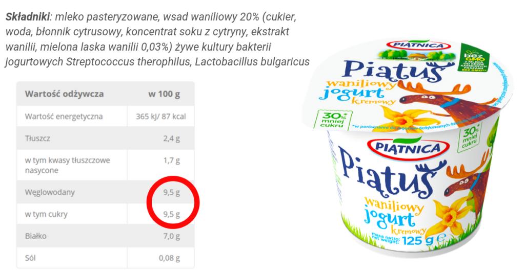 jogurt piątuś skład