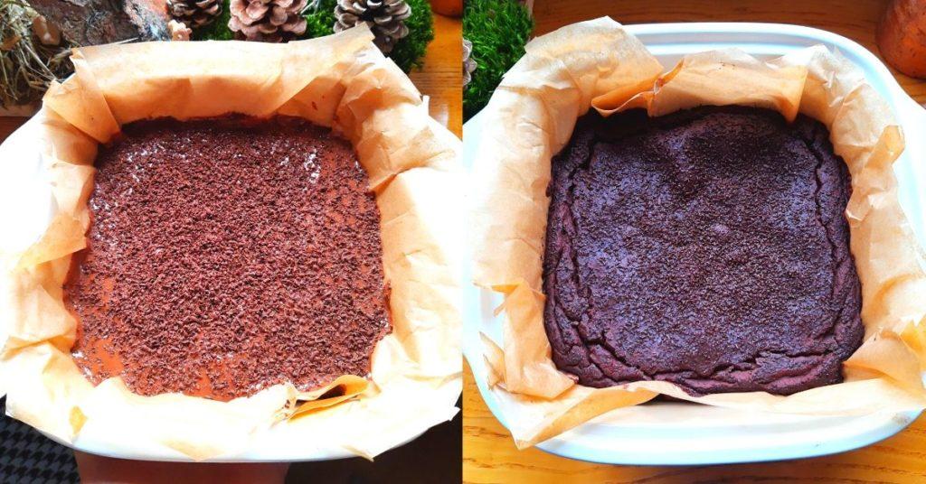 zdjęcie brauni przed i po pieczeniu